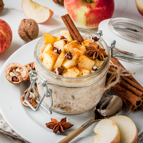 Overnight oats topped with apple, cinnamon and nuts.
